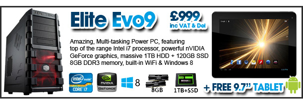 Elite Evo9 with FREE Android Tablet - just £699