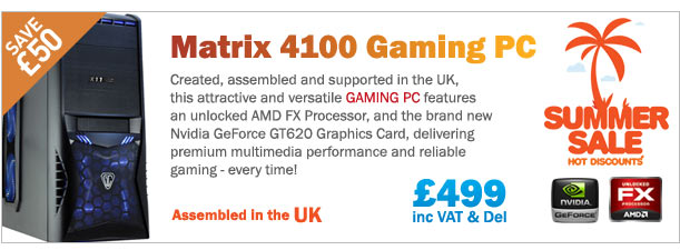 Save £50 on this fantastic Gaming PC with AMD FX processor and the all new Nvidia GeForce GT620