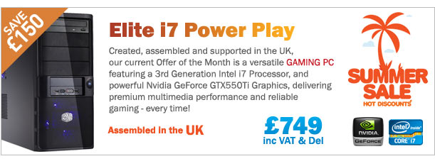 Save £150 on this fantastic Gaming PC with Intel i7 processor and powerful Nvidia GeForce GT550Ti