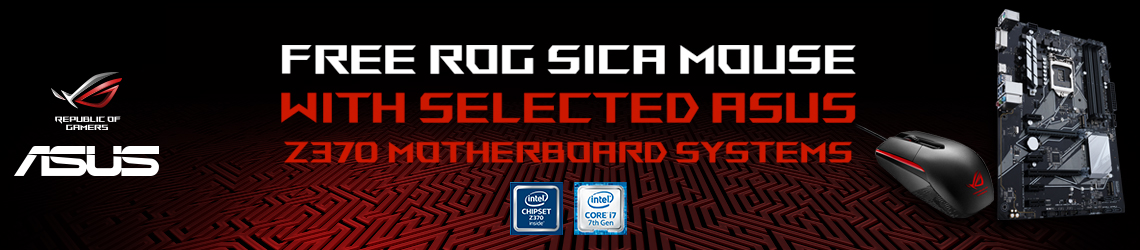 Get a FREE ASUS ROG Sica Mouse when you buy ASUS Z370 Maximus Hero Motherboard.